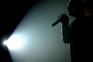 Silhouette of a singer to represent X Factor contestants