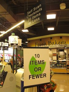 10 items or fewer signs